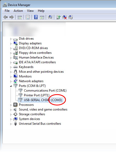 Serial port in Windows Device Manager