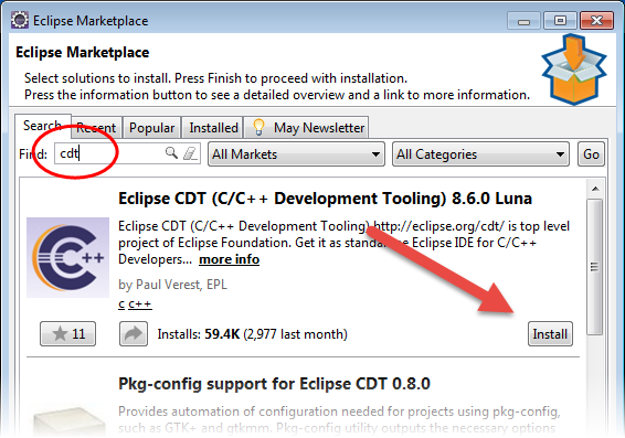 CDT in Eclipse Marketplace