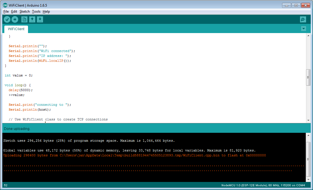 Arduino programming on the ESP8266